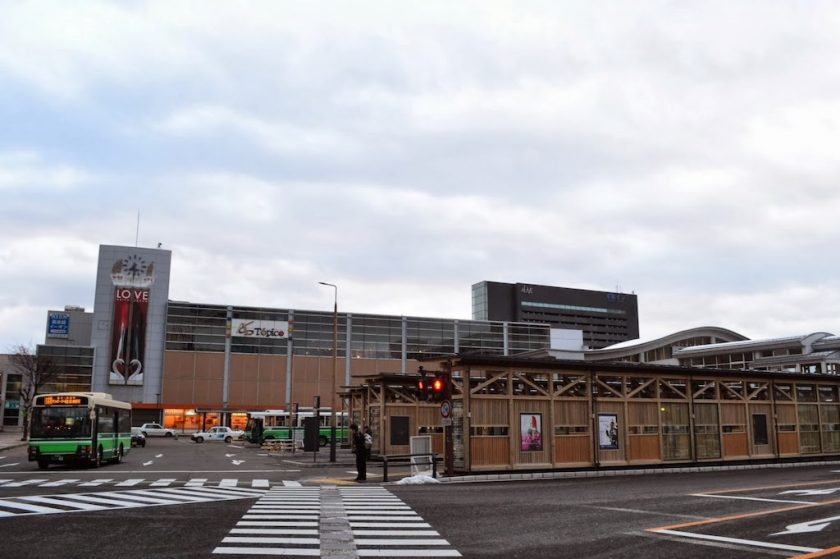 """Station building """"Topico"""" and the bus terminal on Akita Station west gate"""