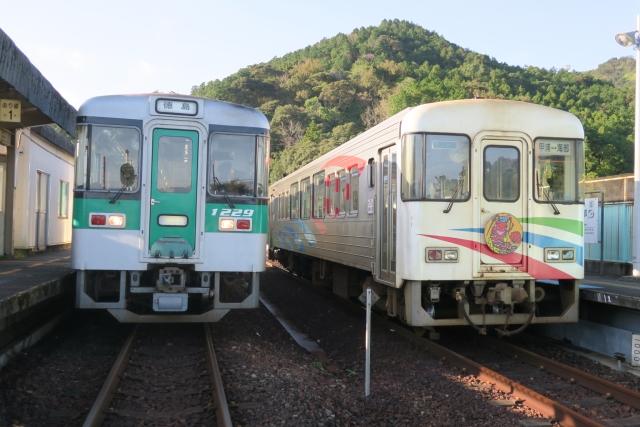 "Asa Seaside Railway ASA-100 ""Shiokaze"" (right) and JR Shikoku 1200 series at Kaifu Station, which can no longer be together"