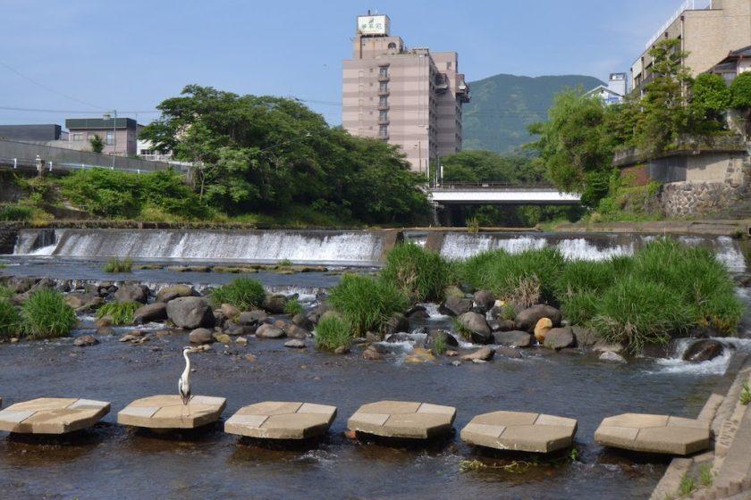 Scenery of the Shiota River flowing through Ureshino Onsen near the new station ©Katsumi