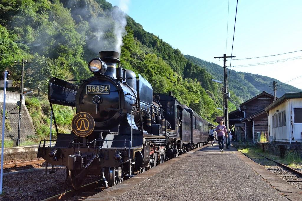 """JR Kyushu """"SL Hitoyoshi"""" steam locomotive No. 58654 at Sakamoto Station - used for """"SL Kimetsu no Yaiba"""" ©Katsumi"""