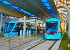 The vehicles of the Danhai LRT Lanhai Line