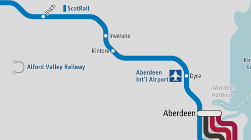 """New station """"Kintore"""" opened between Dyce and Inverurie in Scotland"""