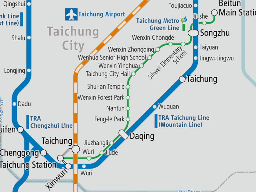 Newly opened the Metro Green Line, the first urban railway in Taichung City
