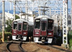 Hankyu Kyoto Line 9300 series trains passing each other