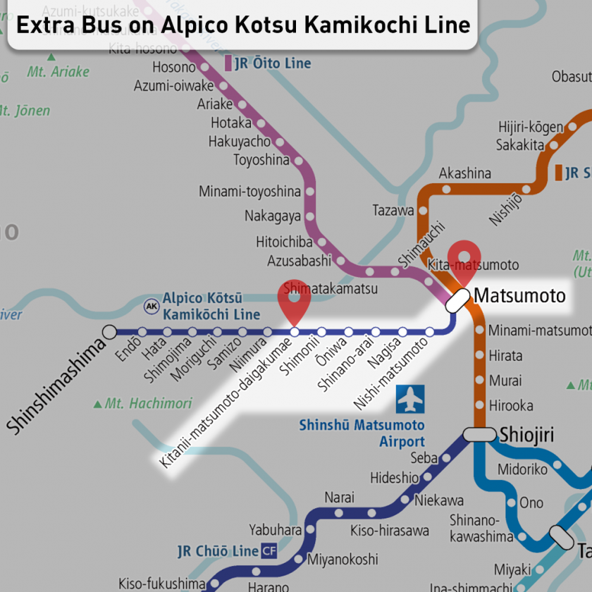 Extra chartered buses to prevent the spread of COVID-19 on the Alpico Kotsu Kamikochi Line
