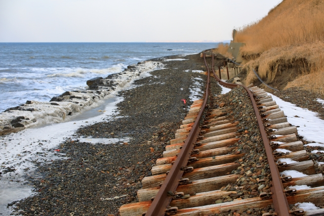 Hidaka Line track damaged by high waves that occurred in 2015