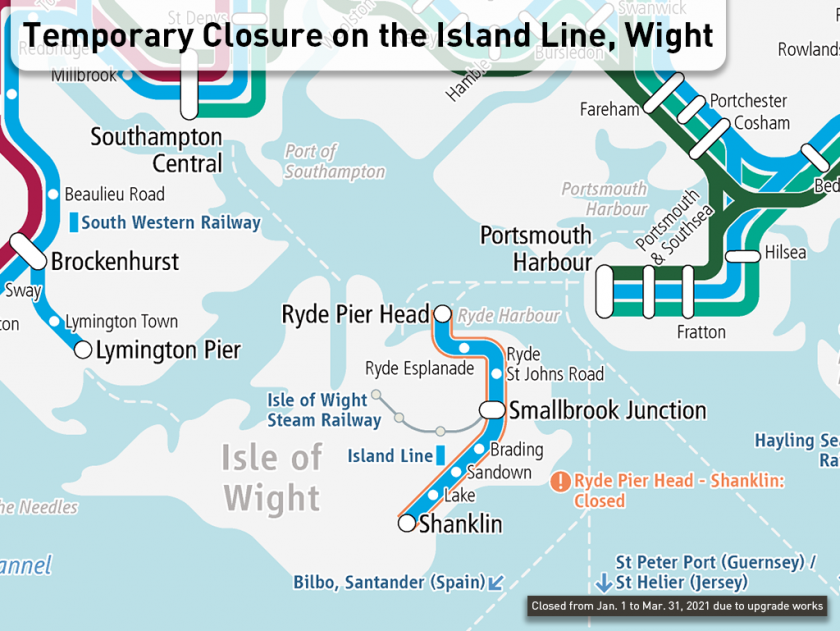 [Look at the Railway Map] Temporary Closure on the Island Line, Wight