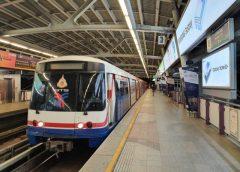 "The trains of ""BTS Skytrain"" running around the metropolitan area of Bangkok"