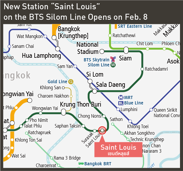 """[Railway Map] New Station """"Saint Louis"""" on the BTS Silom Line Opens on Feb. 8"""