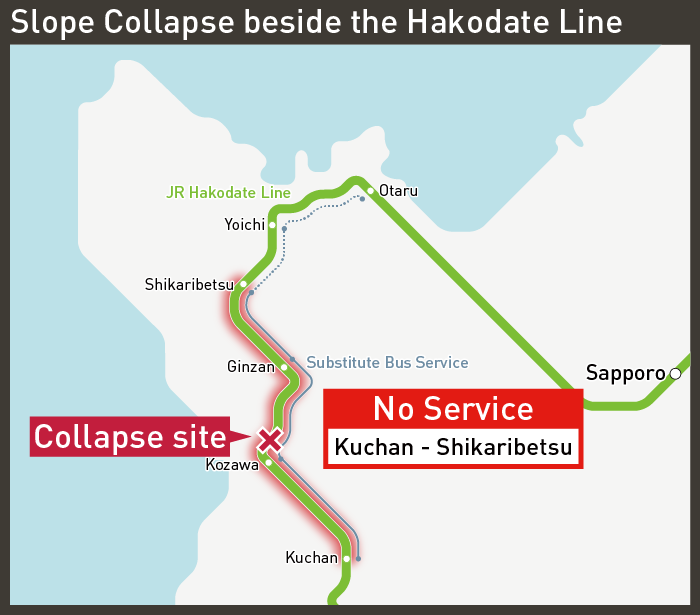 [Look at the railway map] Slope Collapse beside the Hakodate Line