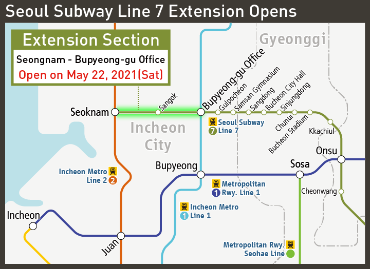 [Look at the railway map] Seoul Subway Line 7 Extension Opens